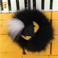 Heißer verkaufender Fox-Pelz-Leder-Monster Pom Pom-Monster-Ball keychain Beutel-Auto-Charme