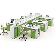 Mobiliario de oficina, muebles de escritorio de trabajo de oficina perla blanca + verde loro, muebles de oficina diseño de muebles (JO-5006-6)