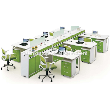 Office furniture supply, office working desk furniture pearl white + parrot green,Office desks furniture design (JO-5006-6)