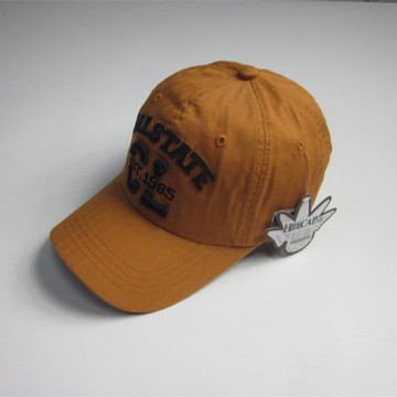 Brown Soft Textile Fabric Patch Sports Cap