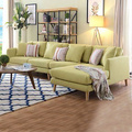 Wooden Legs Linen Corner L-Shaped Sectional Sofa