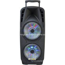Super Big Power Woofer Doppel 10 Zoll Kunststoff Trolley Batterie Bluetooth Lautsprecher mit Licht F73D