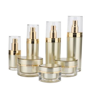 Golden Acrylic Cream Oblate Bottle And Jar