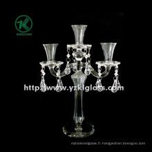 Bougeoirs en verre pour la décoration de fête avec trois messages (10 * 23 * 32)