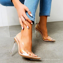 Ladies Summer Pumps High Heel Sandals 2020 New Thigh Heel Sexy Stylish Wholesale Clear Pvc Pu Sexy Women Fashionable Rubber
