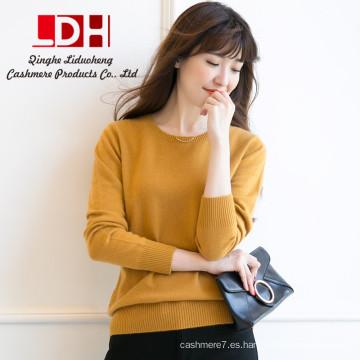 Suéter hecho punto de la cachemira de la manga larga del color sólido de la manera de los jerseys de las mujeres