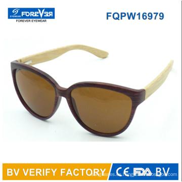 Fqpw16979 buena calidad bambú brazos estilo Classcial de gafas de sol