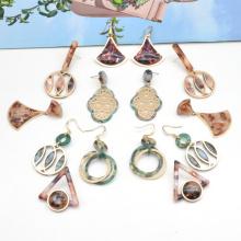 2021 Custom designer colorful acetate acrylic korean earrings women gold plated copper earrings
