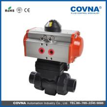 Válvula de bola eléctrica / neumática doble de la unión del PVC para el agua