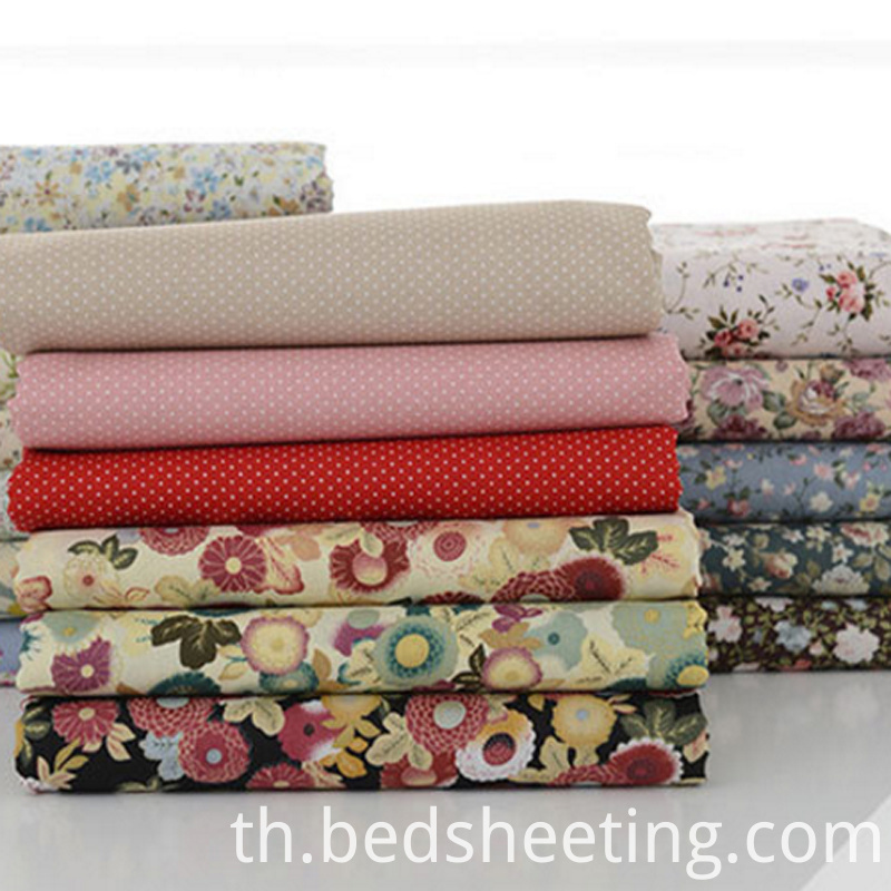 Polycotton Plain Woven Fabric Printed Flowers