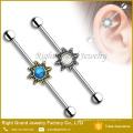 Barbell industrial de aço personalizado da flor 14g da opala de aço