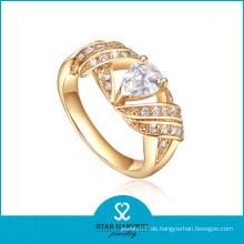 Großhandel Inlay AAA CZ Golden Silber Ring (SH-R0335)