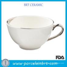 White Eco-Friend Plus grande tasse de thé en céramique avec poignée argentée