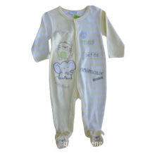 100% Cotton Plain and Yarn Dyed Stripe Interlock Baby Romper with Print and Embroidery on the Front
