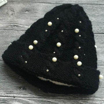Custom Blank Pearly Knitted Beanie Hats