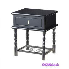 Modern Black Wood and Metal Bedside Table Nightstand (002#black)