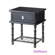 Современный черный деревянный и металлический ночной тумбочек (002 # черный)
