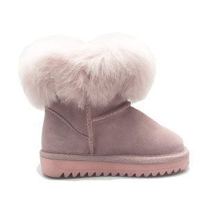 Girls Warm Outdoor leather Winter Snow Ankle Boots