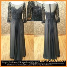 Длинный рукав вечернее платье для пожилых людей шифон ночь вечернее платье с кружевом ткань бай-14077