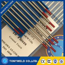 Pure 2% thoriated mejor soldadura de arco electrodo de tungsteno 1,0 * 175 wt20 tig varillas de soldadura