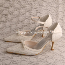 Flower Lace Bridal Party Shoes Pointed Toe