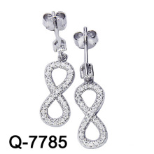 Fashion Jewelry 925 Sterling Silver Micro Setting Infinite Earring (Q-7785)