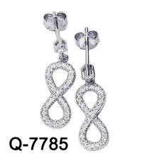 Мода Ювелирные Изделия Стерлингового Серебра 925 Микро-Устанавливая Бесконечные Серьги (Вопрос-7785)