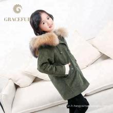 Rapide fournisseur véritable fourrure de raton laveur capot parka enfants veste avec fourrure doublure épais manteau d'hiver