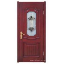 Diseño simple con ventana de cristal Puerta de madera sólida