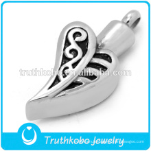 china factory 316l stainless steel jewelry heart pendant flower engraved cremation ashes urns