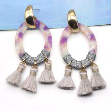 2021 trendy fancy handmade unique purple acetate dangle tassel earrings