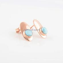 Boucles d'oreilles en argent sterling faites à la main en or rose 925, forme ronde Belle boucles d'oreilles en larimar en pierre