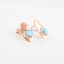 Brincos de pedras preciosas de prata de ouro rosa 925 feitos à mão, forma redonda bonitos brincos de pedra Larimar