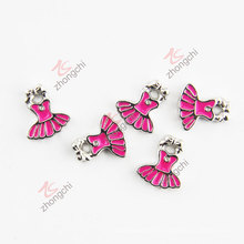Cute Hot Pink Dress Charms 2016 Trendy Fashion Jewelry (FC)