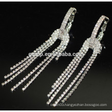 Fashion Hot Sale Charming Long Silver Hanging Rhinestone Stud Earrings