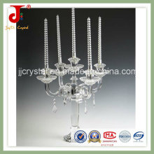 Candelero de cristal con cristal colgante