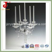 Castiçal de cristal com cristal de suspensão