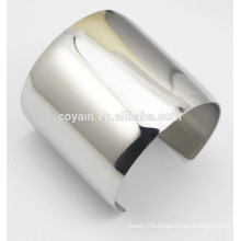 Womens Shiny metal steel Long wide silver cuff bracelet bangles