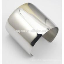 Womens Brilhante aço de metal pulseiras longas prateado bracelete de punho de prata