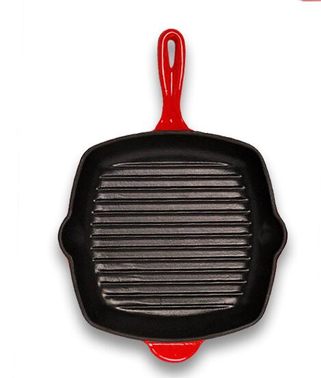 Red Color Enameled Cast Iron Non-Stick Skillet