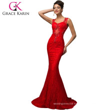 2015 new design Grace Karin long floor length sleeveless lace ladies red evening dresses CL007585