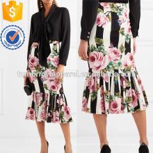 Floral de impressão de seda de mistura Midi Saia Fabricação Atacado Moda Feminina Vestuário (TA3053S)