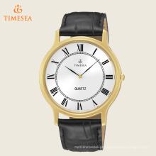 Relógio de faixa de couro preto de quartzo japonês de analógico de exibição analógico masculino 72254