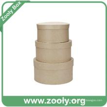 Natural Brown Kraft Cardboard Paper Round Nesting Hat Box