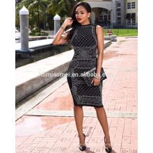 Новая мода 2017 рукавов шею сексуальная горячей бурения бутик цельное платье новая мода дамы платья