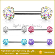 Surgical Steel Crystal Paved Ferido Balls Barbell Nipple Ring