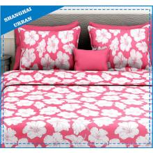 Rojo diseño floral poliéster edredón conjunto de ropa de cama