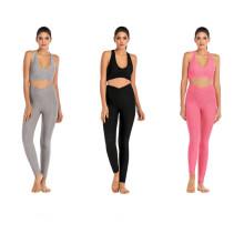 Модные штаны и бюстгальтер для леггинсов из жаккарда и йоги