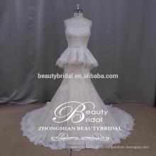 чисто ручной роскошные аппликация свадебное платье полу-милая русалка свадебное платье