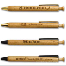 Retractable Recycled Wooden&Metal Ball Pen